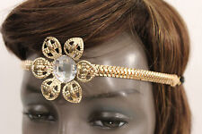 Women Girls Big Gold Metal Flower Elastic Head Band Chain Fashion Hair Jewelry