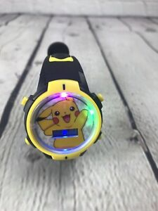 Pokemon Pikachu Flashing LCD Wrist Watch With LED Lights Black Yellow Color Band
