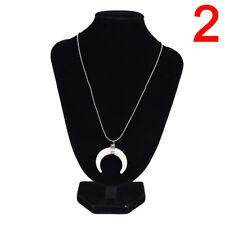 Bone Double Horn Necklace White Black Crescent Moon Charm Pendant Gold Chain 3c 2