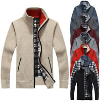 ❤️ Mens Winter Warm Sweater Knit Cardigan Jumper Zip Up Fleece Lined Coat Jacket