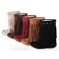 Damen Stiefel Boots Fransen Stiefel 2-Layer Fringe Cowboystiefel Shoes Gr.35-39