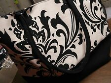 BEACH BAG FOR WOMEN OR CARRY ALL NEW BLACK AND WHITE DESIGN WITH TIE CLOSURE