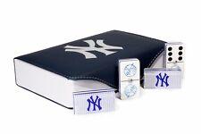 New York Yankees Jumbo Domino Double Six, 5 Coats 100% Acrylic. Engraved Case