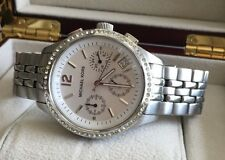 MICHAEL KORS GORGEOUS RUNWAY CHRONOGRAPH w/ CRYSTAL BEZEL SILVER WOMEN'S WATCH