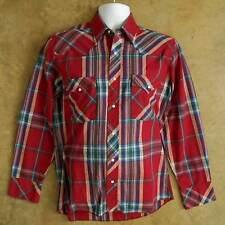 Vintage WRANGLER Long Sleeve Western Shirt Sz MEDIUM Red Lightweight Pearl-Snap
