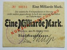 Dessau Anhalt Stadthauptkasse 1 Milliarde 1923 Notgeld