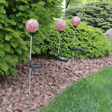 Sunnydaze Set of 3 Dark Pink Mosaic Crackle Glass Ball Solar Garden Stake Light