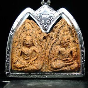 Rare Old Pra Khun Phan Plai Koo wat banklang  Supanburi ,thai buddha amulet #2