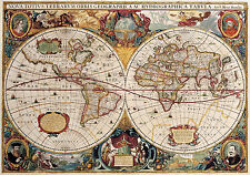 Large Framed Print - Double Hemisphere World Map Vintage Style (Picture Poster)