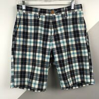 "Tommy Hilfiger Mens Size 29"" Cotton Plaid Shorts Classic Fit Teal Blue"