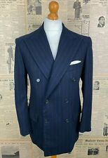 Vintage bespoke Italian 1960's blue double breasted flannel suit size 40