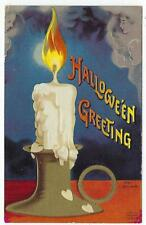 ANTIQUE HALLOWEEN POSTCARD Clapsaddle GHOSTLY CANDLE Series 1393 Germany