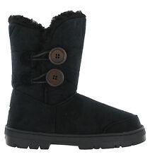 Ella Fur Lined Twin Button Mid Calf Bootee Flat Womens Rita Winter Fleece BOOTS Uk6 Black