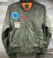Iris Los Angeles Women's Bomber Jacket Olive Green Lining Size L Flight Jacket