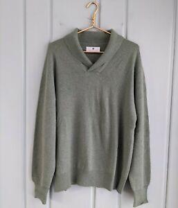 Ballantyne 46 Mens XL Sweater 100% Cashmere Green Heather Scotland Shawl Collar