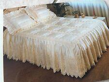 JOHN WILSON 100% Satin Bed Spread (Cream colour - Crochet) Queen Size