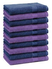 Betz 10 Toallas de cara 30x30cm PREMIUM 100% algodón color morado y azul marino