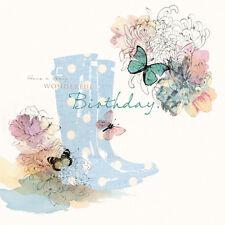 """carte de joyeux anniversaire """" pointillé Wellies et fleurs """" - Taille 15.9cm x"""
