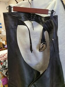 Leather motorcycle chaps XL with Harley Davidson buckle