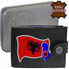 ALBANIA Mens Leather Wallet ALBANIAN Flag map and Emblem Mans gift Shqipërisë