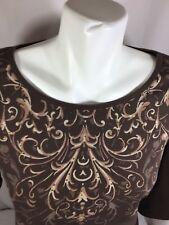 Vinrage Su3ie Women Brown Floral Shirt Size L Long Sleeve Scoop Neck   Bin82#41