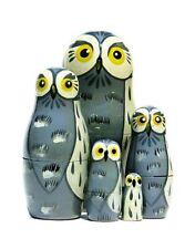 Great Grey Owls Russian Nesting Doll Matryoshka Wildlife Bird Babushka Toy5Piece