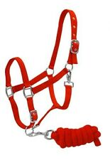 RED Full Size Adjustable Nylon Halter w/ 7' Braided Cotton! Lead NEW HORSE TACK!