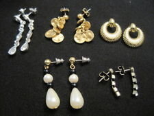 Silver tone ~ Rhinestones and Faux Pearl Lot of 5 Earrings ~ Gold tone and