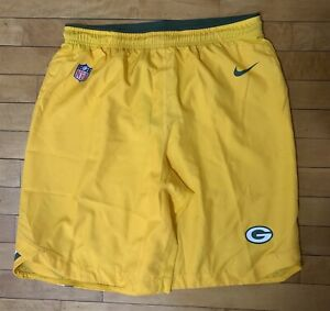 Nike Green Bay Packers Dri-Fit Team Issued Player Worn Used YELLOW Shorts Large