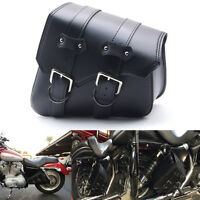 Universal Black Biker Cruiser Motorcycle Ride PU Leather Saddle Bag For Harley