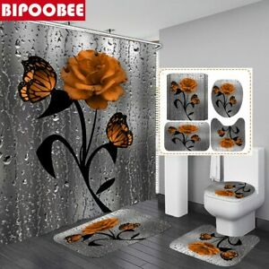 Butterfly Rose Flower Shower Curtain Non-Slip Rug Toilet Lid Cover and Bath Mat