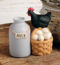 Milk Can Black Chicken Hen Eggs Basket Resin Blossom Bucket Farm Fresh County