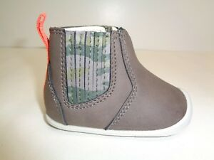 Carters Size 2.5 CONNOR Grey Camo New Boys Baby Toddler Crawling Boots Shoes