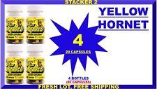 Stacker2 Yellow Hornets Energy 20 Bottle Ephedra Free Lot of 4 X ( 80 Capsules)