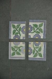 4 Pc Vintage Small D.K Mark Flower Design Ceramic Tiles,Japan