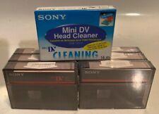 Sony Premium DVM60 ME  MiniDV tape for camcorder digital Lot Of 6 & Head Cleaner