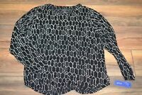 Apt 9 Essentials Black w/ Geometric Career or Casual Wear Top Plus Size 0X