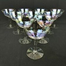 Iridescent Luster 10 Champagne Sherbet Stemware Glasses West Virginia Glass