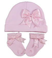 Baby BOW socks hat set girl sparkle beanie gift PINK WHITE