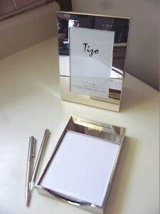 Tizo silverplated 4x6 frame & matching classic note paper holder + 2 silver pens