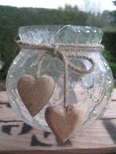 """Schöne Glasvase """"Bubbles"""" dekoriert mit 2 Herzen aus Holz Vase Windlicht Shabby"""