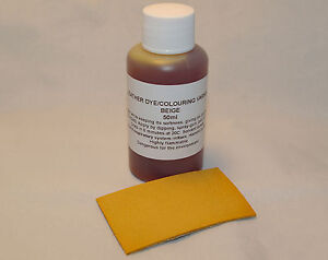 Leather dye/colourant in BEIGE - 50ml for sofas, shoes, bags, car seats etc.
