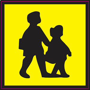CAUTION WARNING  CHILDREN CROSSING SCHOOL Vinyl Stickers safety 120mm x 120 mm