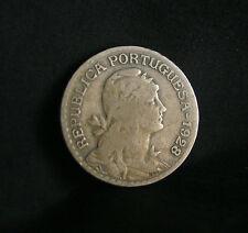 1928 Portugal 1 Escudo Copper Nickel World Coin KM578 Liberty Head Shield Wreath