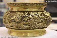 Chinese Fane Brass Copper Nine Dragon Play Bead cornucopia incense burner Censer