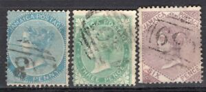JAMAICA 1860/3 STAMP Sc. # 1, 3 AND 6 USED