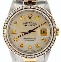 Rolex Datejust Mens 18k Gold and Steel Watch Diamond Dial 1.3ct Bezel 16233