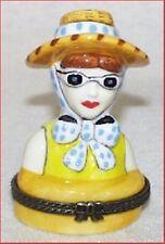 LADY TOURIST-Porcelain Hinged-Box..FUN IN THE SUN!