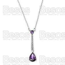 AVON drop STATUESQUE NECKLACE purple/silver PENDANT&CHAIN rhinestone GIFT BOX UK