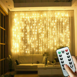 3Mx3M LED Curtain String Fairy Lights In/Outdoor Controller Window Wedding Decor